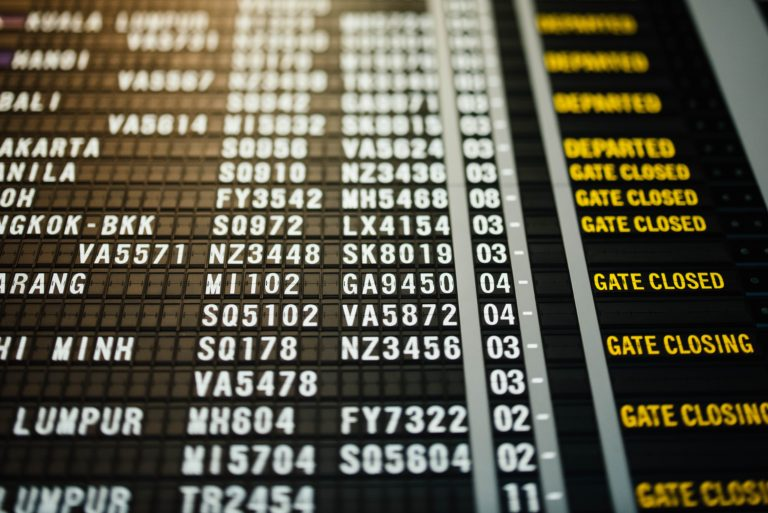 Flight schedule board
