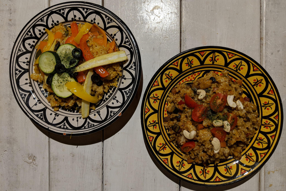 Picture of vegetable paella and brown rice
