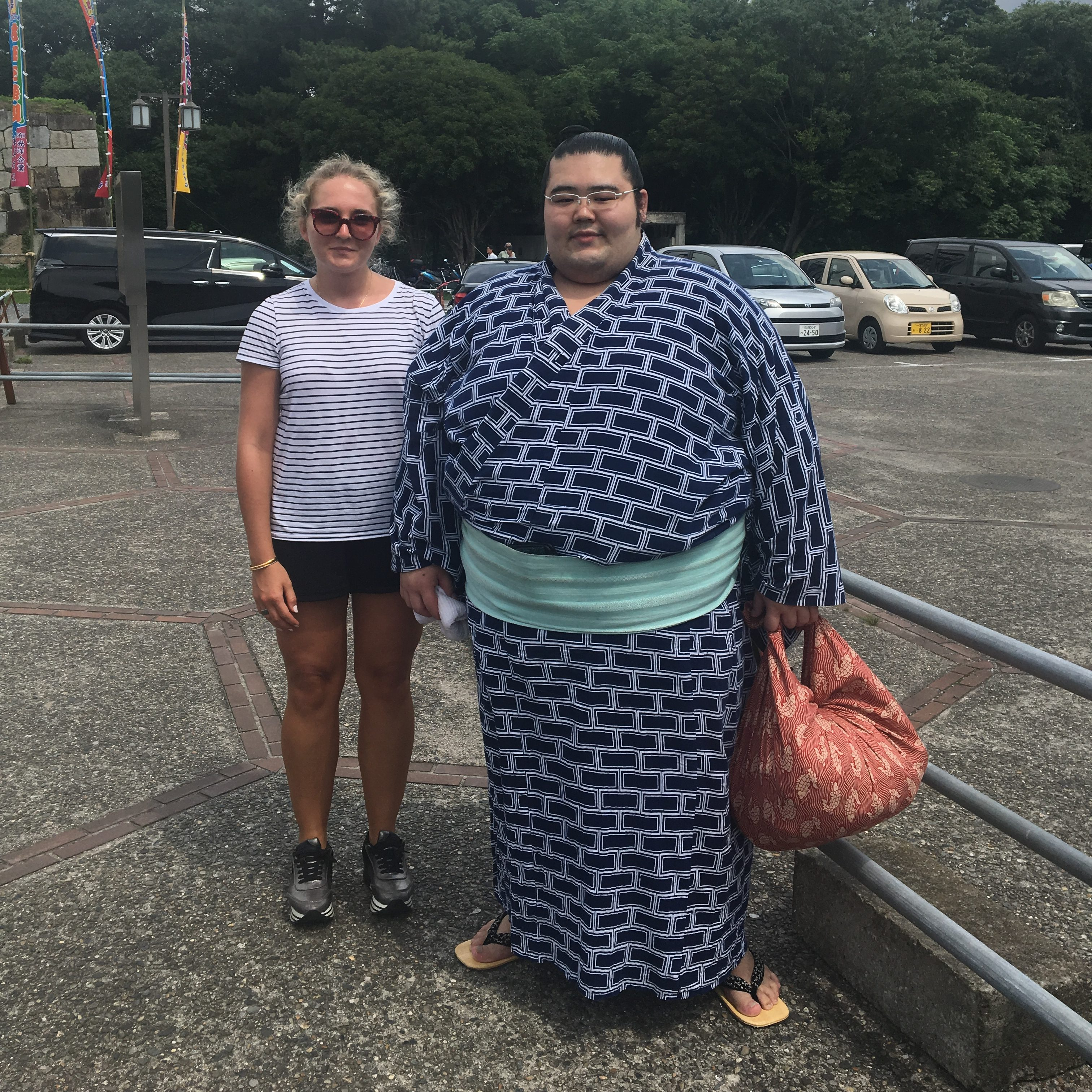 Picture of the author with a sumo wrestler