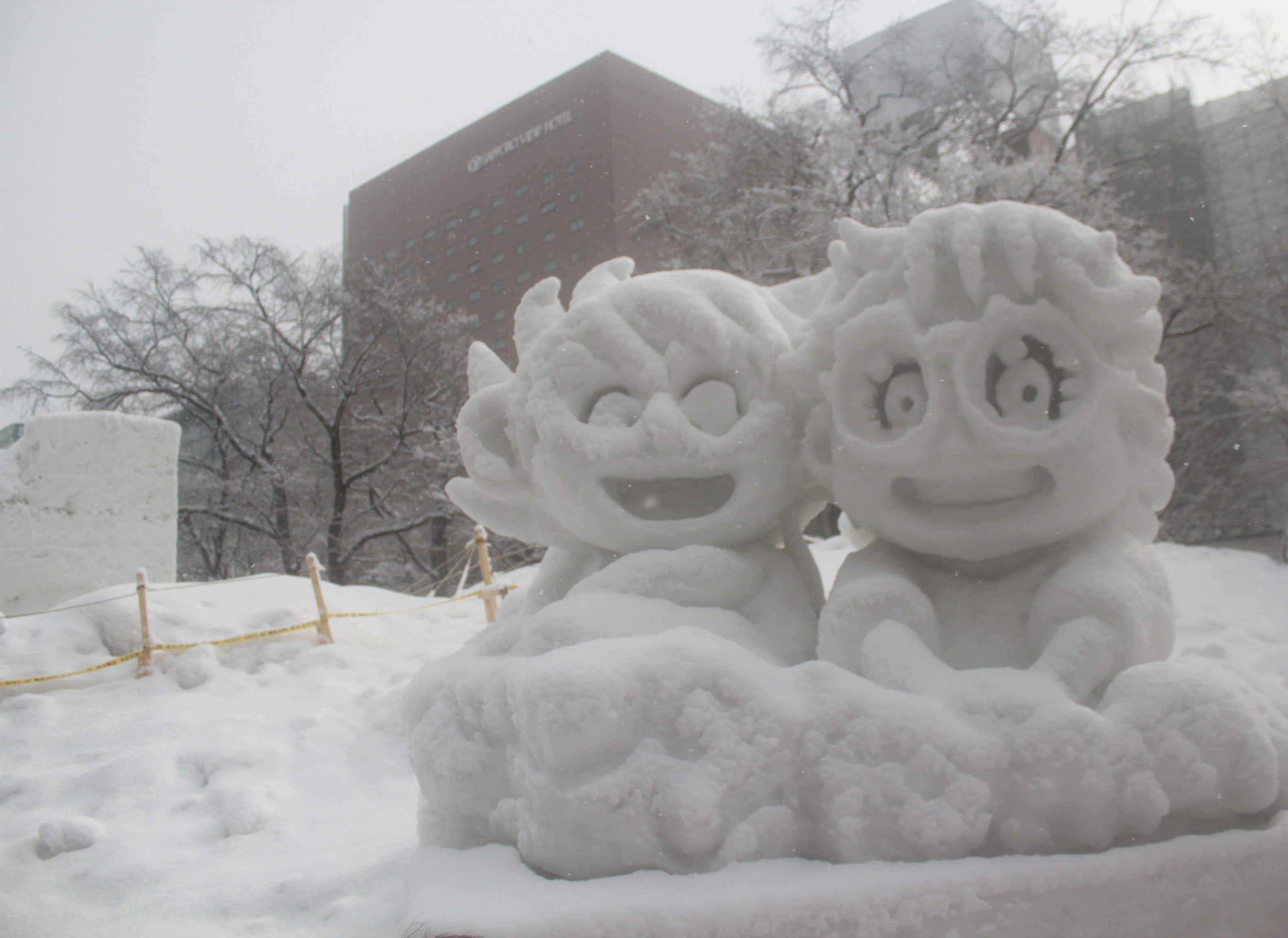 Snow sculptures of characters from anime/ manga