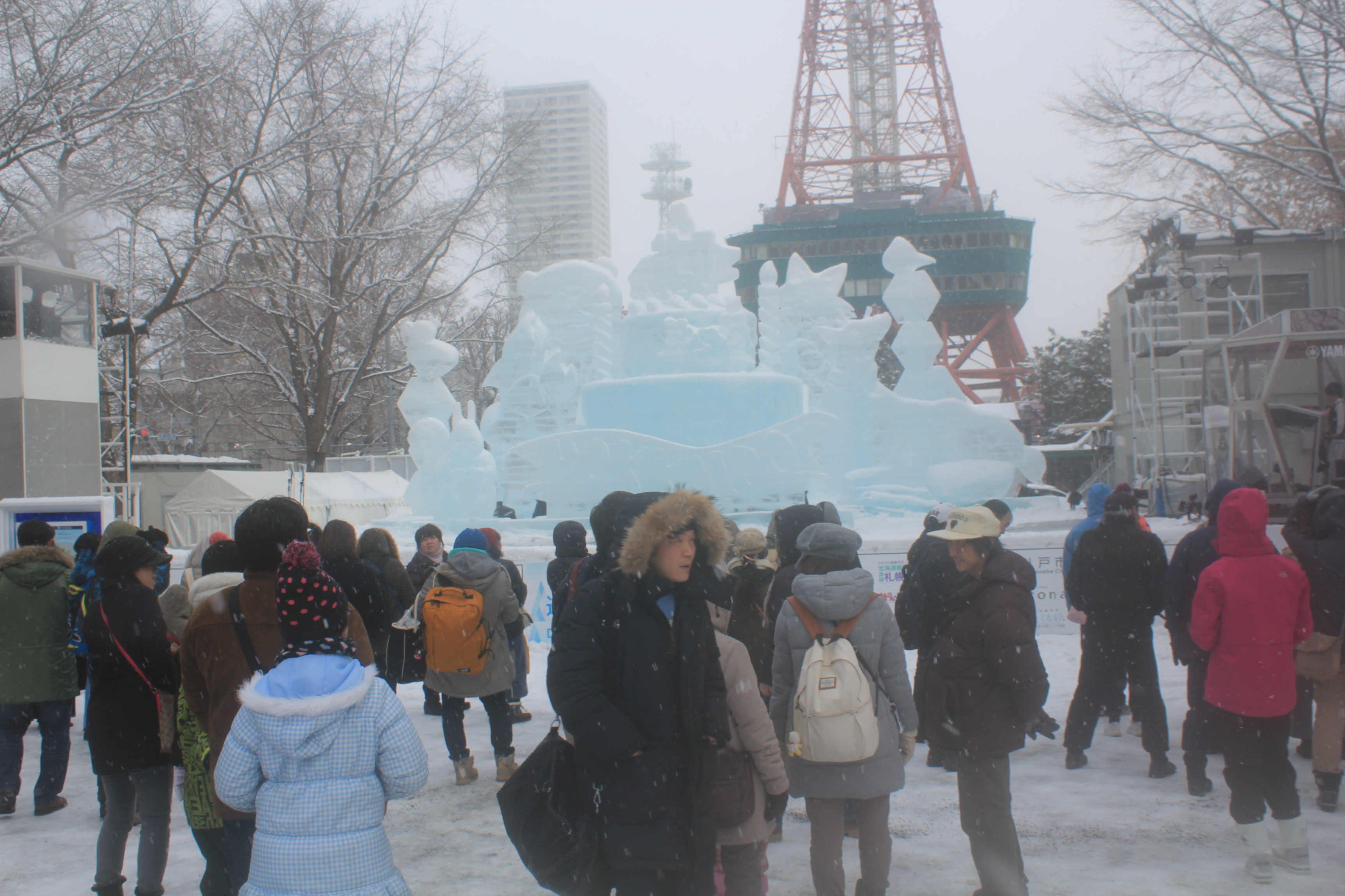 Snow sculptures in front of Sapporo TV Tower