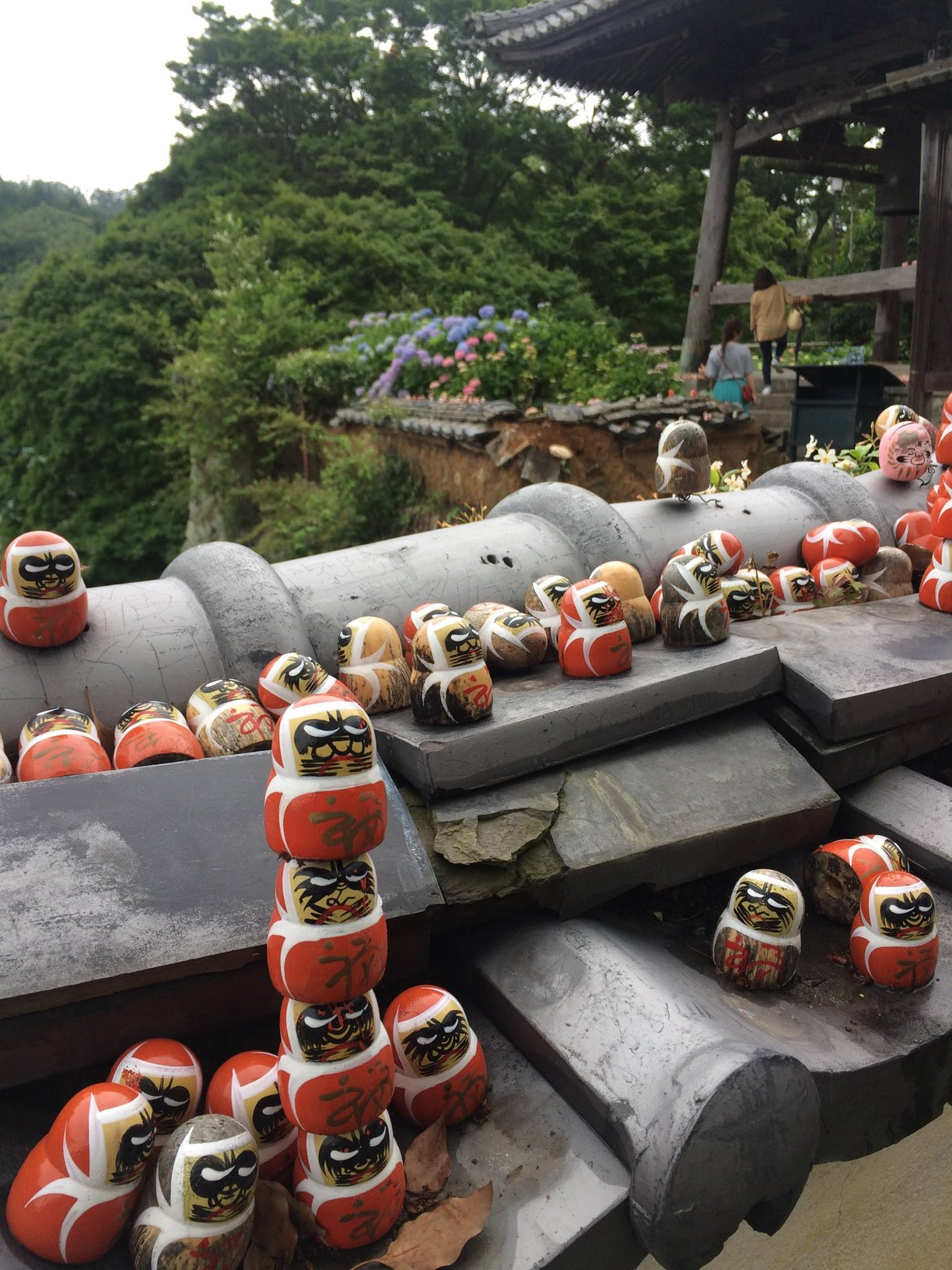 A photograph of a site at the temple filled with daruma dolls