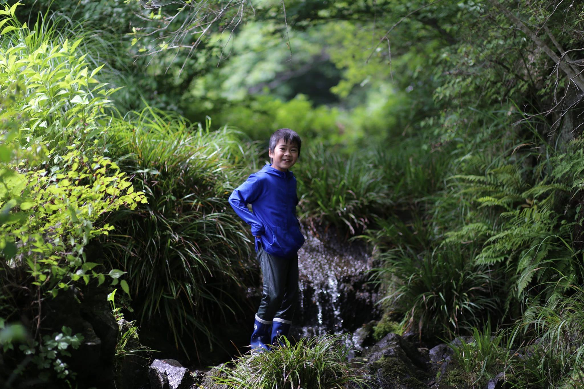 photograph of a boy standing in the midst of a wooded area