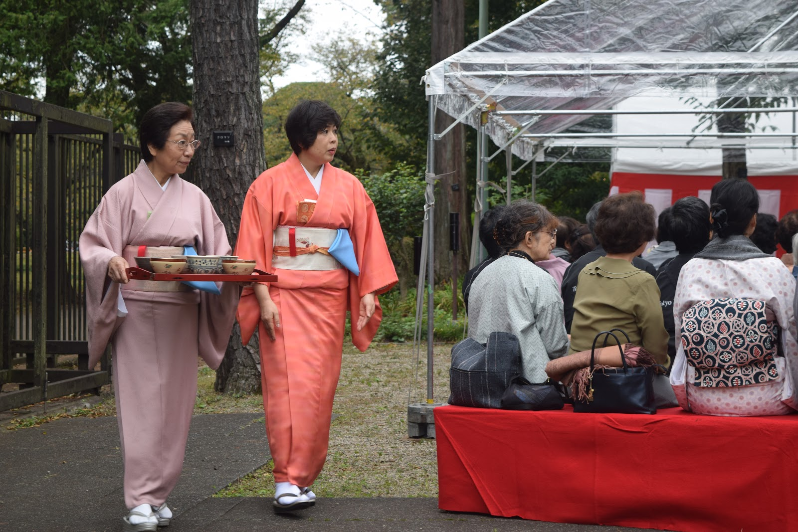 Picture of a woman in a kimono carrying a tea tray with another woman in a kimono accompanying her as they walk to a group of seated people