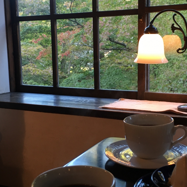 A picture of a lamp by the window of a room