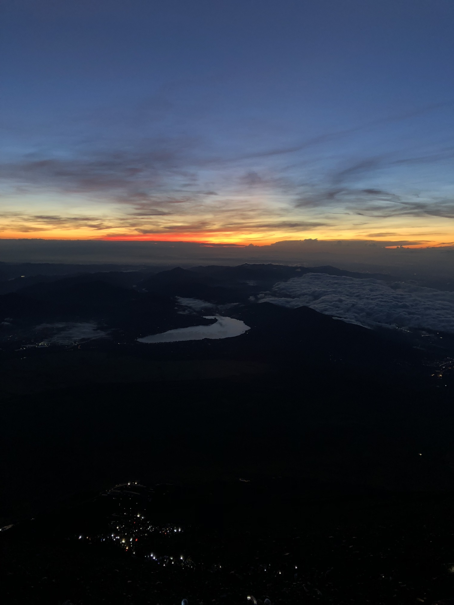 A picture of the sky at dusk as viewed from Mt. Fuji