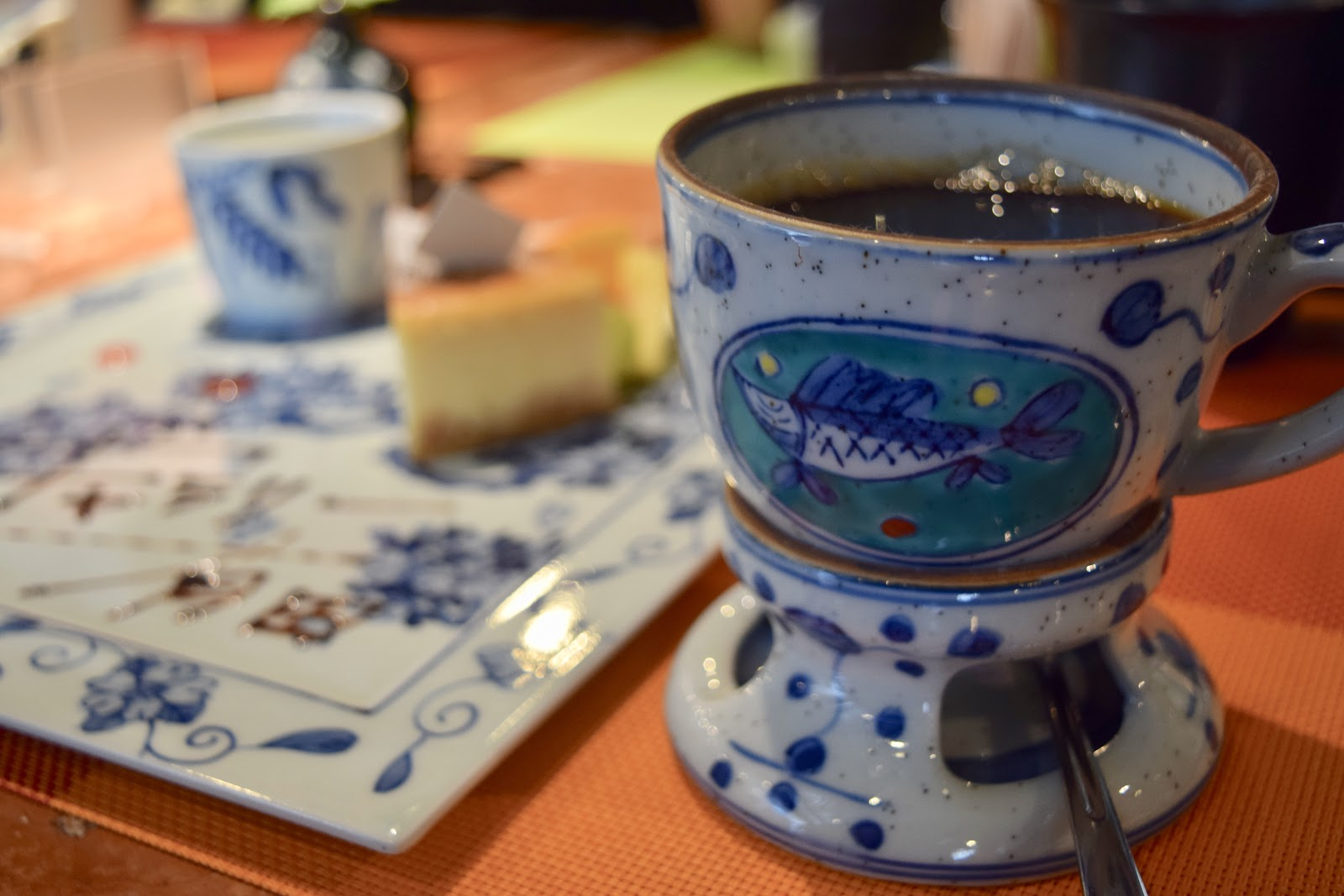 Picture of the author's cup and saucer combination; blue porcelain