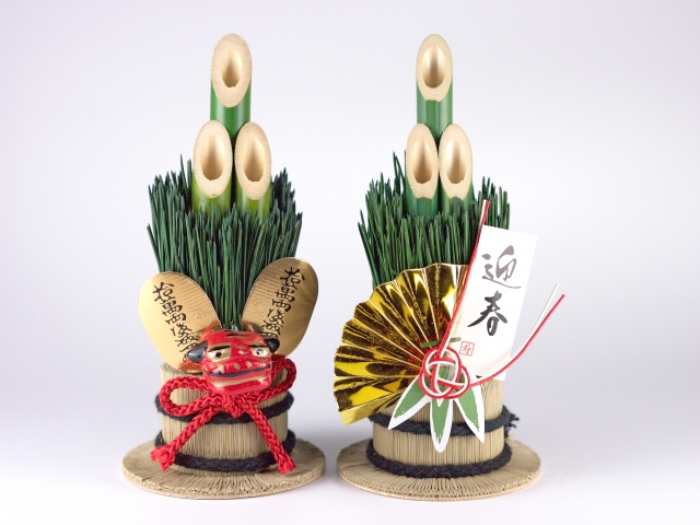 two kadomatsu, Japanese New Year decorations made with bamboo