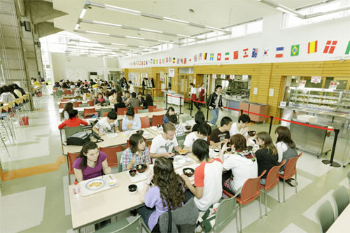 people eating at a cafeteria