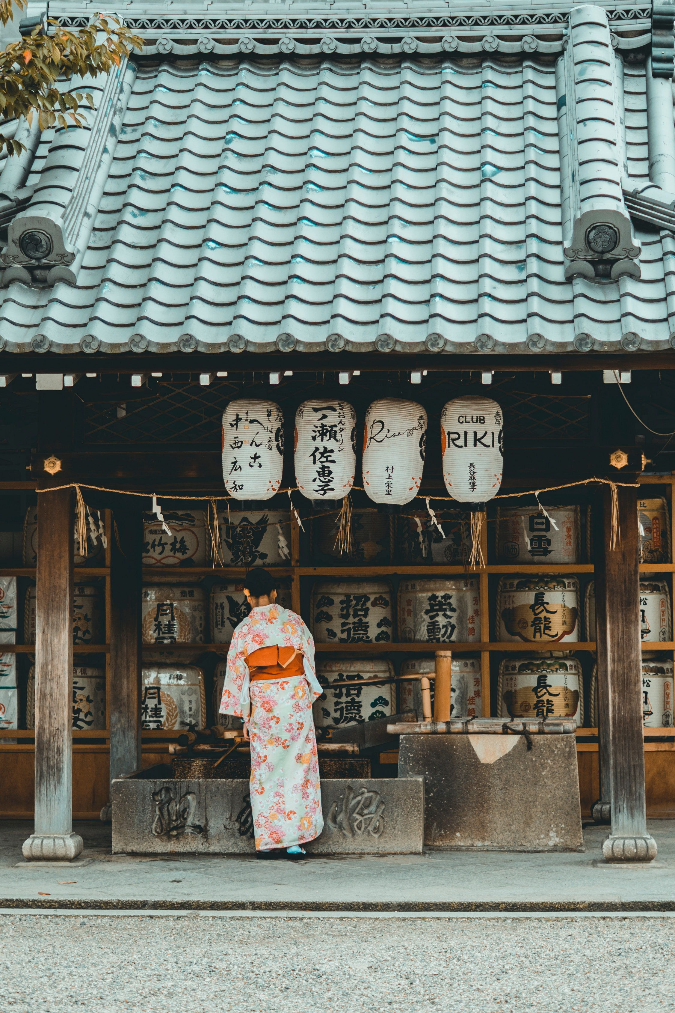 Picture of a woman wearing a kimono at a local shop